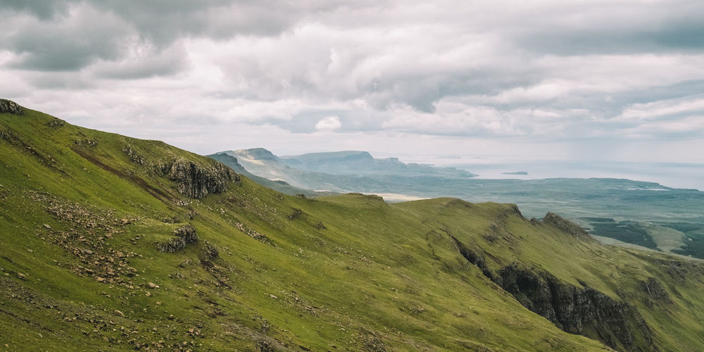 Beauty In Nature Day Grass Isle Of Skye Landscape Mountain Nature No People Outdoors Scenery Scenics Scotland Sea Sky The Old Man Of Storr Tranquil Scene Tranquility Water