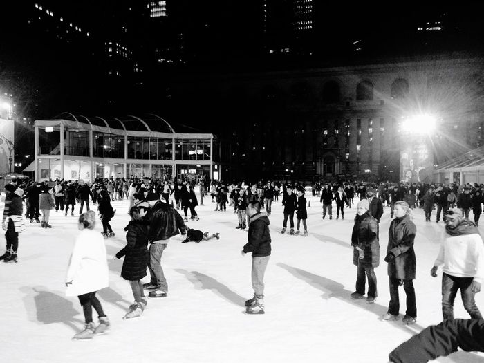 New York New York City Bryant Park NYC USA Street Streetlife People Watching Iceskating