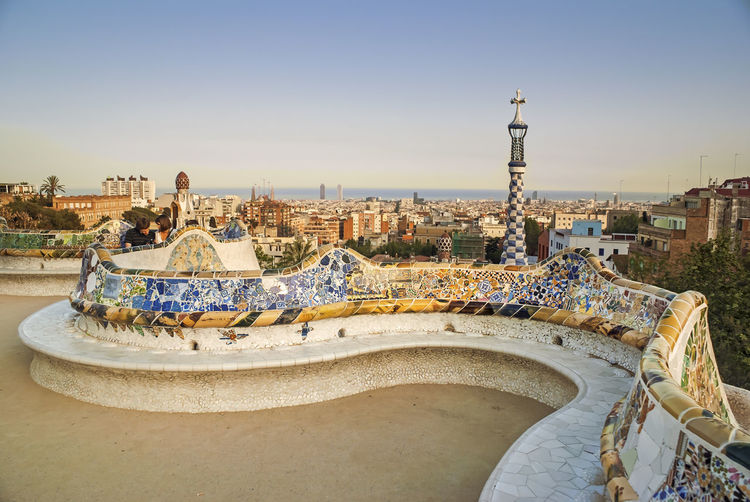 Walking around Antoni Gaudi's Parc Güell in Barcelona, Spain Architecture Barcelona Cityscape Gaudi Postcard SPAIN Summertime Blue Sky City Views Day Daylight Greeting Card  Handcrafted Landscape Modernism Natural Materials Organic Building Organic Shapes Ornaments Outdoors Parc Guell Sunny Day Urban
