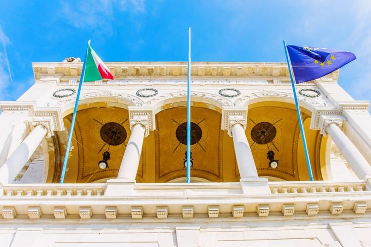 Flags in TS Sky Architecture Flags Italy Trieste Europe No People Outdoors Day Building Exterior Low Angle View Wind Piazzaunitàditalia