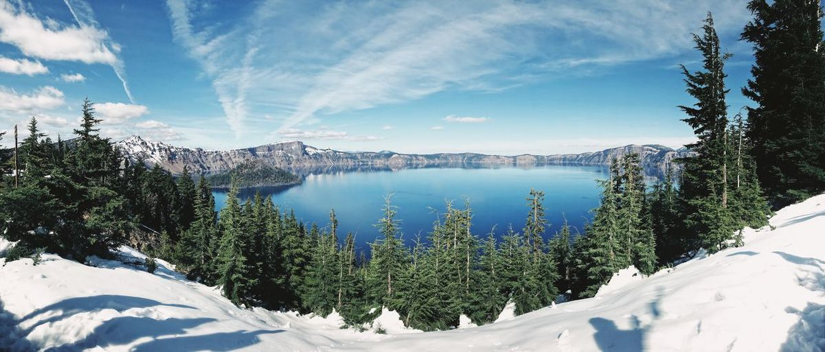 Scenic View Of Crater Lake National Park