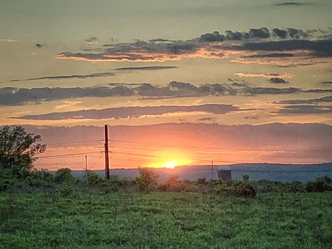 Colorful Sunset on a Farm Countryside Sky Sunset Sun Cloud - Sky Scenics - Nature Environment Beauty In Nature Landscape Plant Land Nature Grass Dramatic Sky Field Tranquility Sunlight No People Orange Color Tranquil Scene