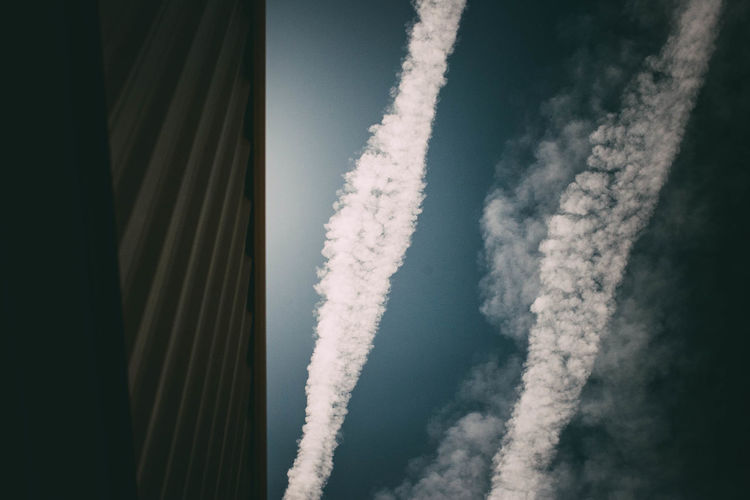 Aerial view of vapor trail in sky