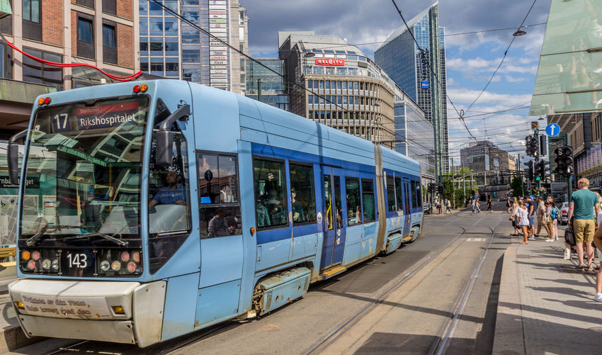 Norway Oslo Tram Architecture Building Exterior Built Structure City City Life Day Group Of People Land Vehicle Mode Of Transportation Outdoors Real People Street Transportation
