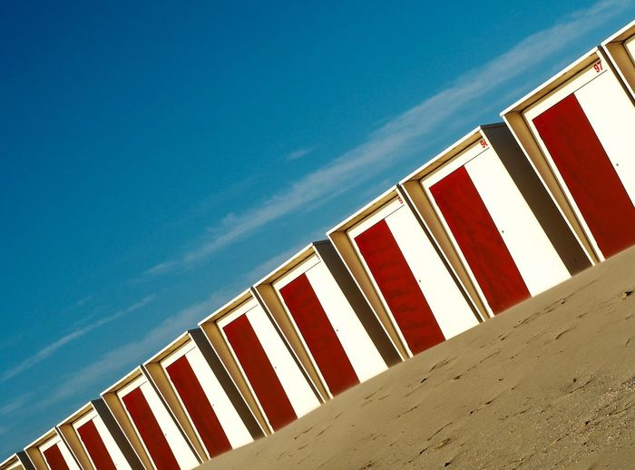 Diagonal Diagonal Diagonals Diagonal Lines Art Perspective Perspectives Perspective Photography Beach Hut Beach Huts Beach Huts And Sky EyeEmNewHere Beach Red Blue Sand Sky Close-up Shore It's About The Journey
