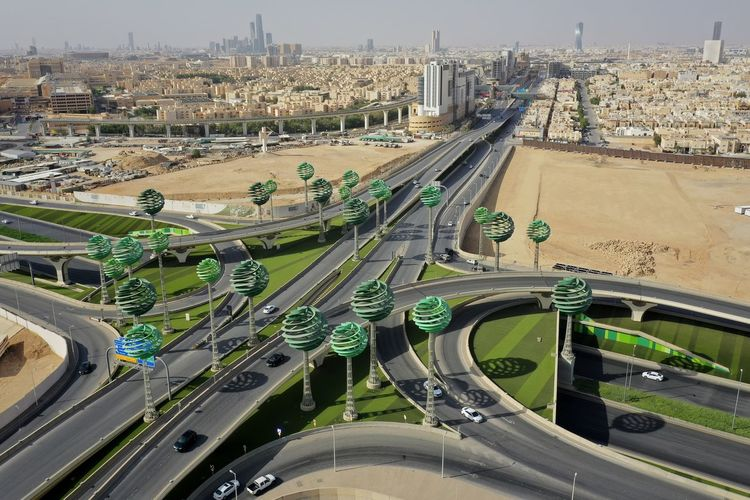 High angle view of highway in city