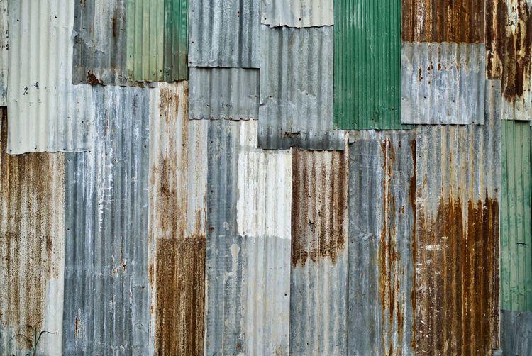 Full frame shot of rusty corrugated wall