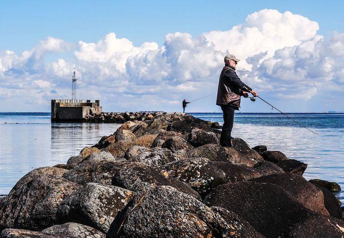 Dragør Fisherman Fishing Rock Formation Rocks Rocks And Water Baltic Sea Balticsea Sea Sea And Sky Seascape Seaside People Watching Clouds People Sky And Clouds Sky Weather Dramatic Sky Blue Sky Harbour Olympus OM-D E-M5 Mk.II Olympusomd Olympus Getolympus