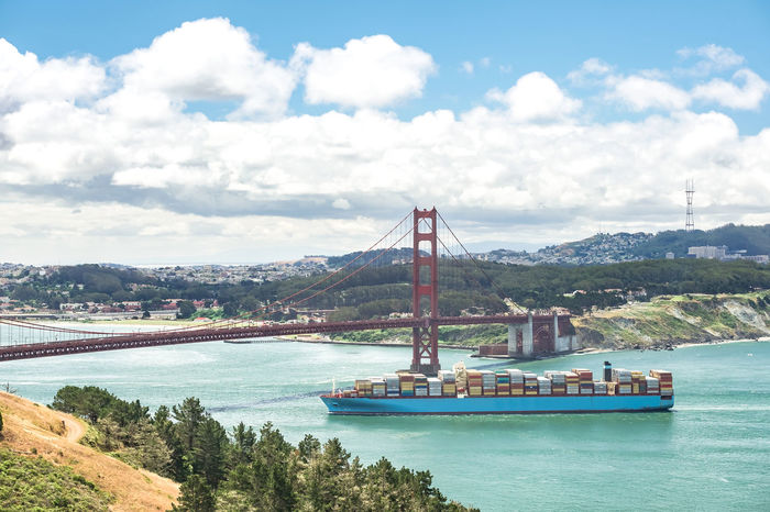Big container ship crossing Golden Gate // Aerial View Architecture Bay Bay Area California City City Life Cityscape Connection Container Container Ship Crossing Delivery Engineering Famous Place Golden Gate Bridge International Landmark Logistics Mode Of Transport Mountain Tourism Transportation Travel Destinations USAtrip Water