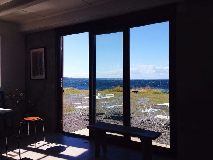 Gudhjem Bornholm Café On The Rocks room with a view Scandinavian Interior Seaside