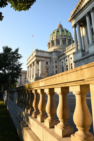 Pennsylvania State Capitol Building. Architecture Built Structure Building Exterior Clear Sky Railing Architectural Column History Day Famous Place No People City Life Outdoors Architectural Feature Pennsylvania Harrisburg, Pa Pennsylvania State Capitol Warm Colors Warm Light