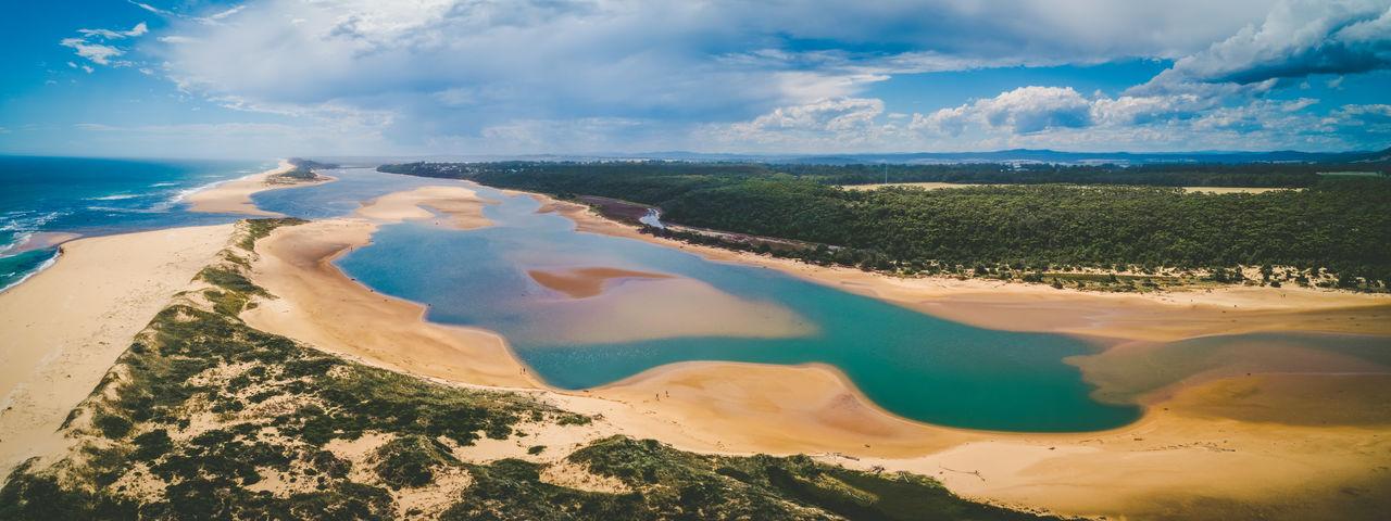 Aerial panoramic landscape of snowy river estuary. marlo, victoria, australia