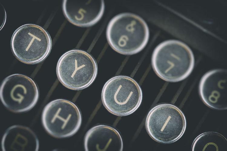 Full frame close-up shot of typewriter