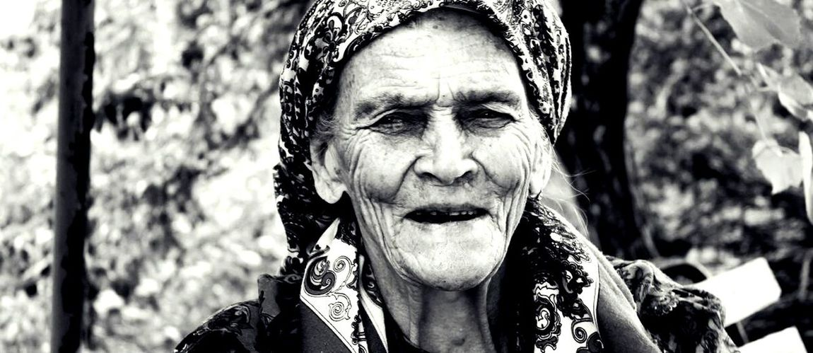 Black And White Outdoors Person Headshot One Person Portrait Real People Happiness Close-up Grandma Wrinkles Traditional Bosnian  Smile Monochrome Sliceoflife Monochrome Photography