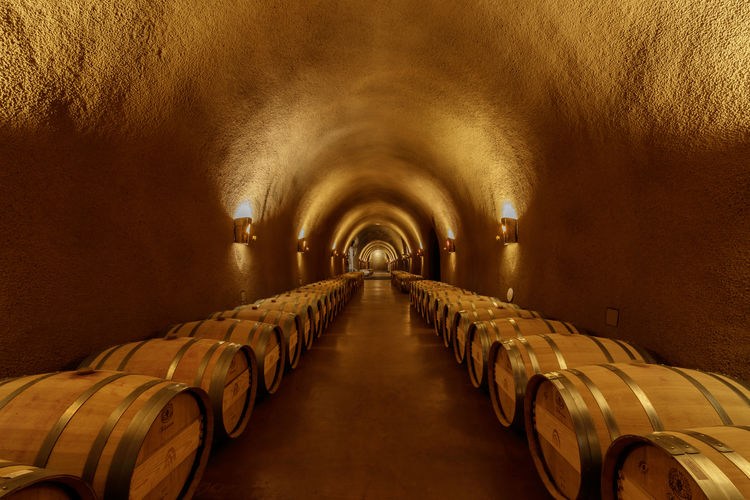 Underground barrel cave at a winery in napa, california