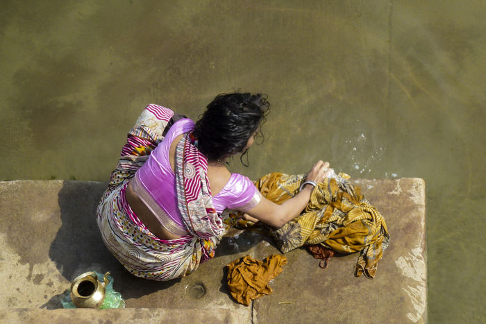 Daily Life Female From Above  India Laundry Traditional Culture Washing Woman Varanassi Ghat