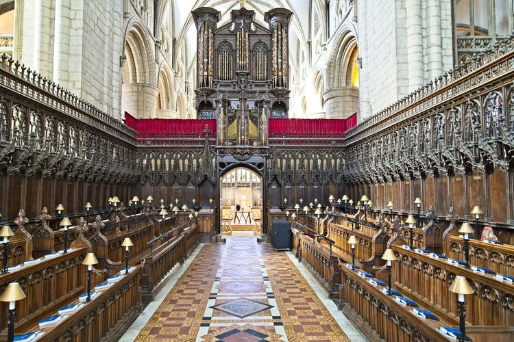 Architecture Place Of Worship Religion Built Structure Belief Spirituality Building Travel Destinations The Past History Building Exterior Tourism Travel Pew Arch Day No People Gothic Style Architectural Column Ornate Cathedral Gloucester Cathedral