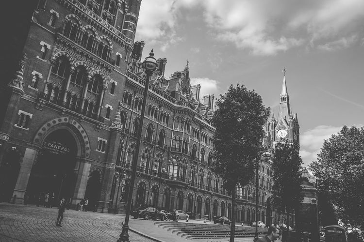 St. Pancras Hotel Architectural Feature Architecture Black And White Black And White Collection  Black And White Photography Building Exterior Built Structure Capital Cities  City City Life Cloud - Sky Gothic London Tourism Travel Travel Destinations Travel Photography Traveling United Kingdom EyeEm LOST IN London The Graphic City Visual Creativity British Culture