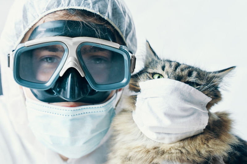 Portrait of man with cat wearing mask against white background
