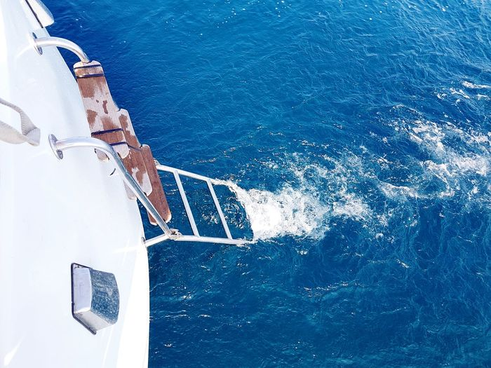 High Angle View Of Ladder On Boat At Black Sea