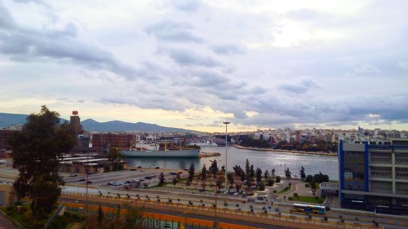 Port Of Piraeus Ships Cloudy Day Passengers Piraeus Limani Greek Landscape Urbanphotography Panoramic View Pireaus
