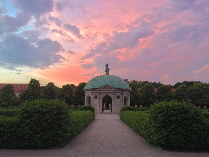 A beautiful summer evening at Munich court gardens Parks Munich Evening Sky Pavilion
