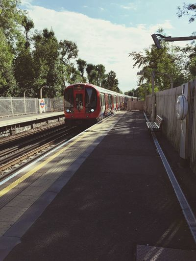 Metropolitan tube train at Eastcote station from the platform Metropolitan London Underground London Tube Train Tracks Urbanphotography