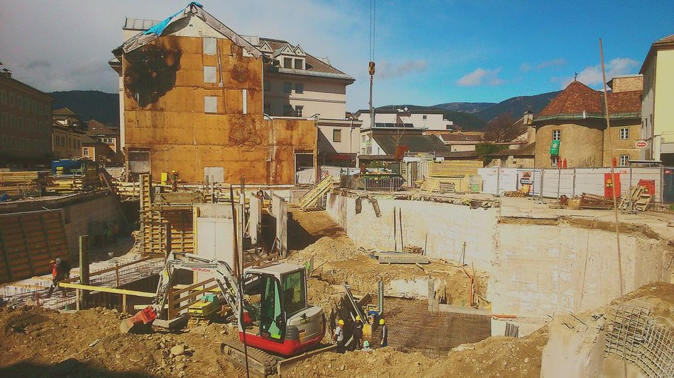 Villach Construction Site Urbanphotography Builders Blue Sky