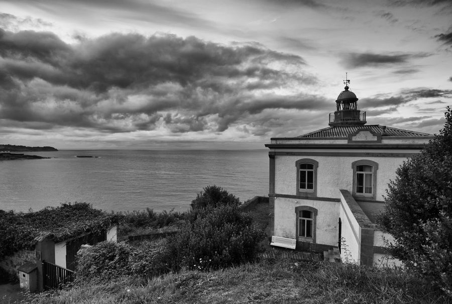 Lighthouse of Candas Asturias Dramatic Sky Horizontal Lighthouse SPAIN Architecture Black And White Building Exterior Cloud - Sky Coast Day High Angle View High Contrast Landscape Nature No People Outdoors Sea Sky Summer Village Water