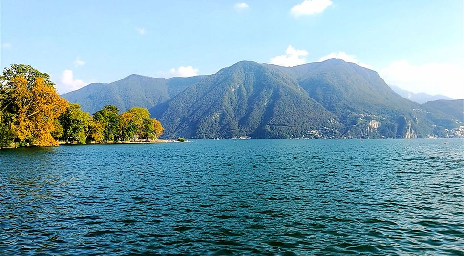 Swiss Lake Lugano Mountain Blue Tree Scenics Landscape Water Sky Natural Parkland Day Forest Outdoors Beauty In Nature