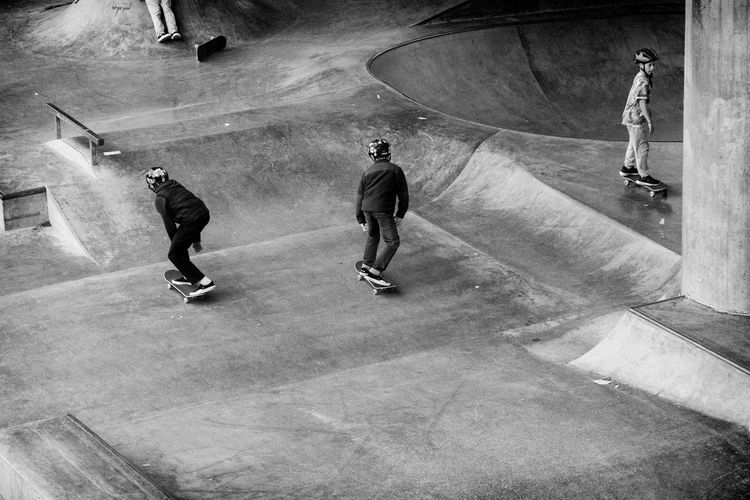 High angle view of people on skateboard in city