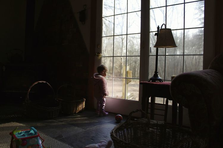 Kids Having Fun Kids Being Kids Little Girl Child Childhood Window Chair Looking Through Window Thoughtful Closed Door Pensive Door Thinking Transparent Day Dreaming
