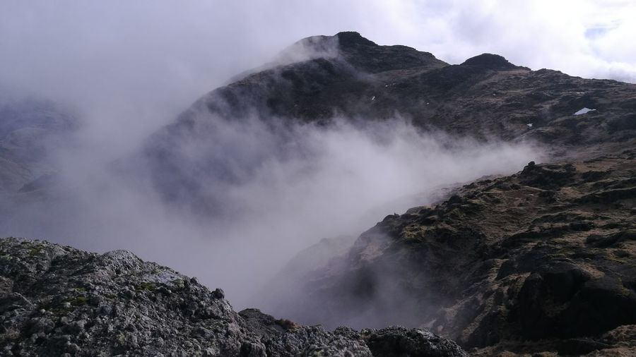 Scenic view of mountain during foggy weather