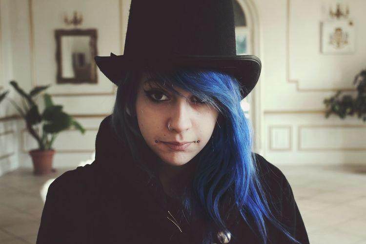 Blue Hair Metalhead Girlfriend Hat Beautiful Dandy