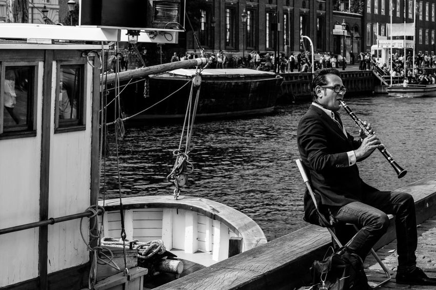 Copenhagen Danmark Music Musician People Moments Moments Of Life Sound Of Life Sounds City Real People Day Water Boats Senses Concert Streetphotography Transportation Men Denmark No Colors Black And White Nikon Photography Contrasts Nikonphotography Traveling Home For The Holidays Second Acts