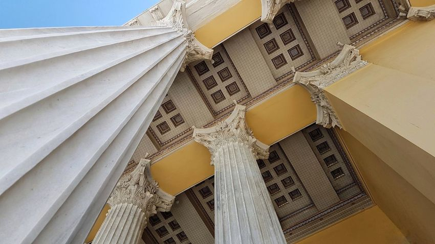 Neoclassical Architecture Columns Entrance Sky Façade Directly Below
