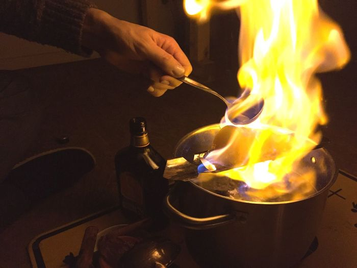 Feuerzangenbowle Fire Rum Mulled Wine Christmas Time Cooking With Fire