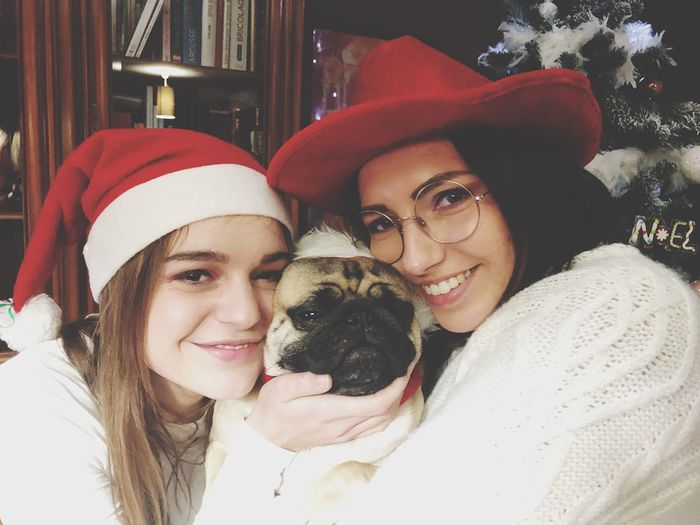 🎅🏼🎄 Christmas Spirit Christmas Pug Life  Pug Portrait Smiling Real People Dog Hat Young Adult Happiness Pets Domestic Animals