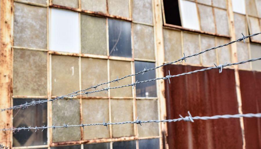Close-up of metal windows