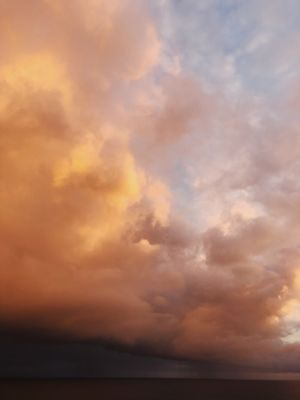 Evening sunset over the Pacific Ocean before a storm Sky Sunset Cloud - Sky Nature Beauty In Nature Dramatic Sky Scenics Tranquil Scene Sea No People Tranquility Water Horizon Over Water Outdoors Storm Cloud Day