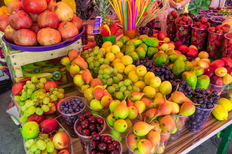 High angle view of apples on market stall