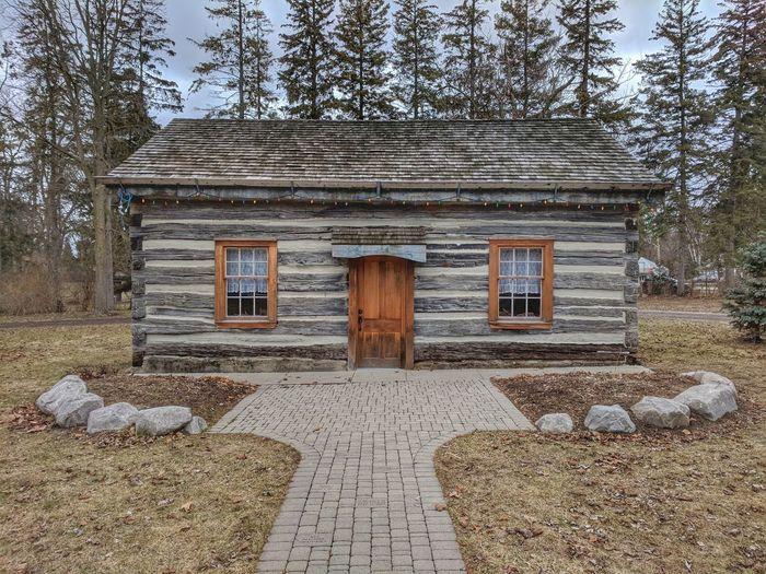 Pioneer cottage, Poplar Hill, Ontario. Pioneer Cottage House Sky Architecture Building Exterior Built Structure Closed Door Door