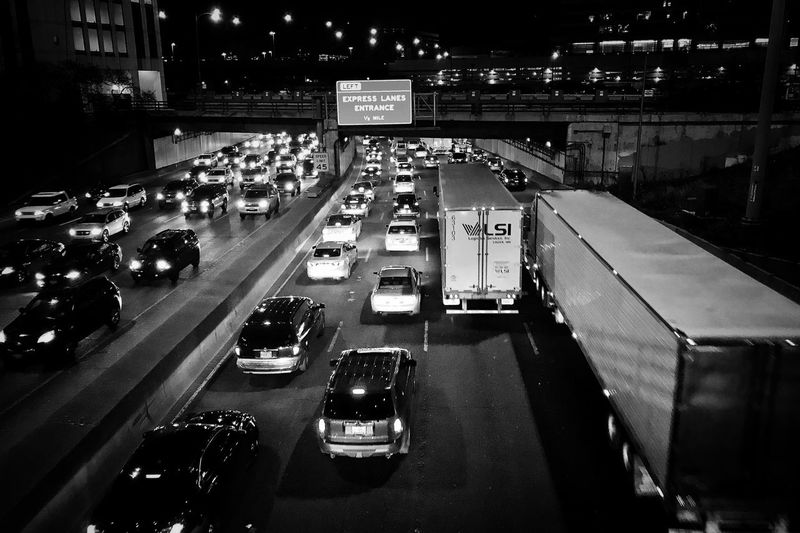 Exodus Traffic Chicago Thanksgiving Blackandwhite Car Transportation Night Rush Hour Road Freeway Truck