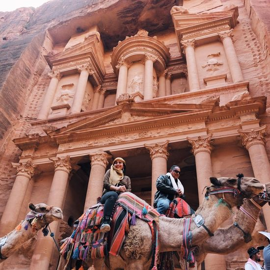 EyeEmNewHere History Architecture Archaeology Statue Ancient Built Structure Ancient Civilization Building Exterior Sculpture Travel Destinations City RoseCity Travel People Desert Colors City Outdoors 7wondersoftheworld Historic