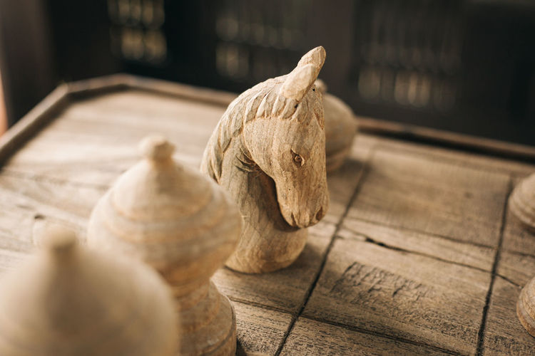 Close-Up Of Wooden Chess Pieces