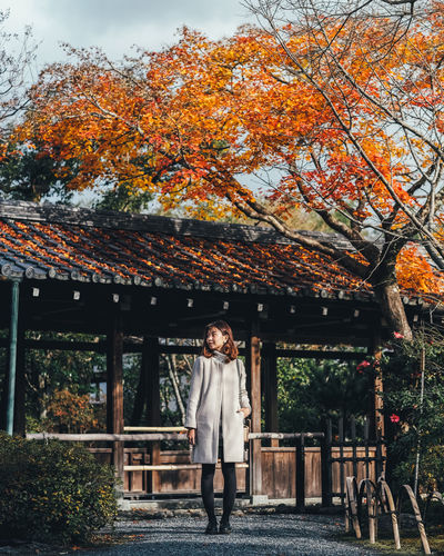 Autumn lover Tree Plant One Person Real People Autumn Change Standing Architecture Built Structure Nature Casual Clothing Front View Orange Color Building Growth Lifestyles Building Exterior Leisure Activity Outdoors Contemplation Autumn Autumn colors Autumn Leaves autumn mood Autumn🍁🍁🍁 It's About The Journey