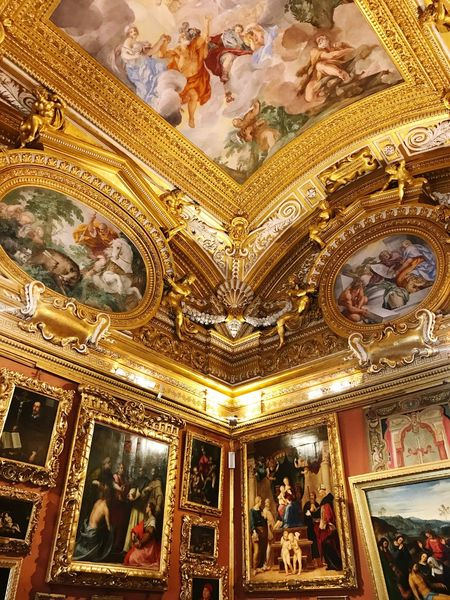 Architecture Fresco Ornate Human Representation Low Angle View Baroque Style Statue Arts Culture And Entertainment Gold Colored Sculpture Italian Art Italy Indoors  Gold People Florence Pitti Palace