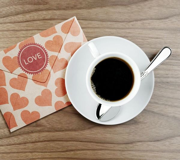 Coffee Cup And Saucer Letter Cover Table Brown First Eyeem Photo Love
