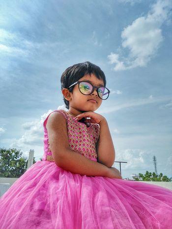 Child Childhood Portrait Girls Eyeglasses  Summer Smiling Sunglasses Sky Cloud - Sky