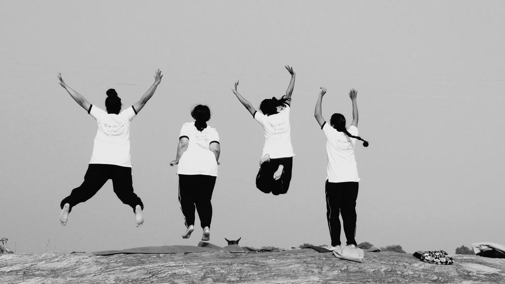Reach up and reach out. Human People Jumpshot On Top Of The World Fun With Girls! Outdoor Photography Long Walks Swathi Rock